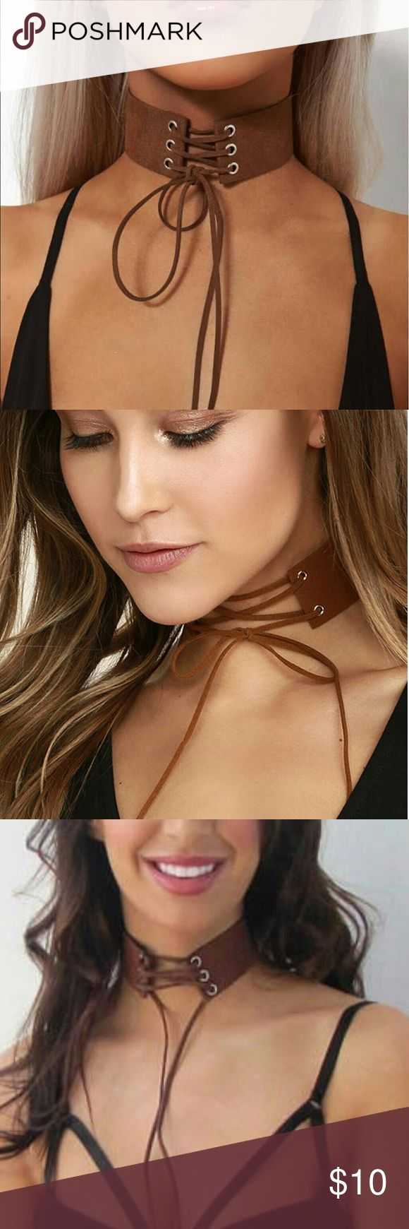 Kim Kardashian Inspired Brown Wide Lace up Choker Kim Kardashian Inspired Brown Wide Lace up Choker Necklace.... If you see more than one thing that you like please let me know and I will be happy to make you a bundle so that you can save money on shipping and also get a great price. Jewelry Necklaces