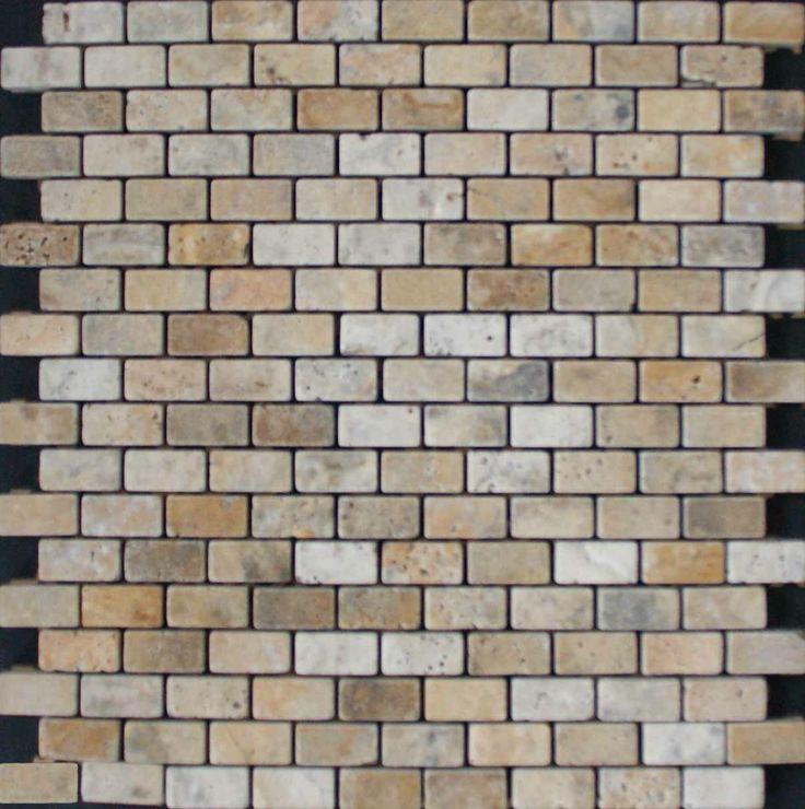 Mozaika marmurowa -  Kolekcja: Brico 1530; Kod: B153010; Wykończenie: ANTICO; Materiał: Travertino Scabas; Wym. Kostki: 1,5x3,0 cm; Wym. Plastra: 30,0x30,0 cm