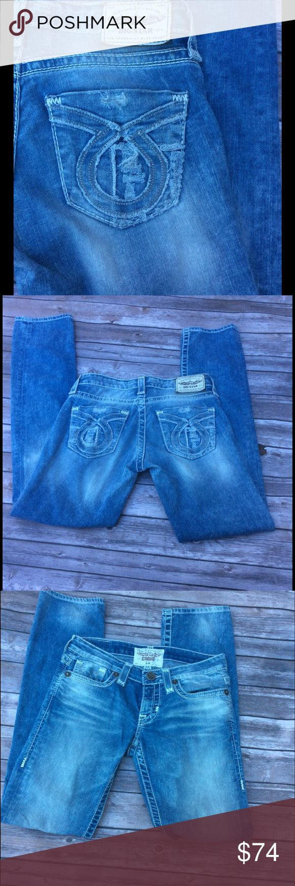 """EUC BIG STAR VINTAGE LIV STRAIGHT CUT JEANS Soft. Stretchy. Lightweight. I think I wore these once or twice. No signs of wear. No stains. Hem measures 7"""" across. 32"""" inseam. Professional custom hem available for $10. Original hem will be kept. Big Star Pants Straight Leg"""