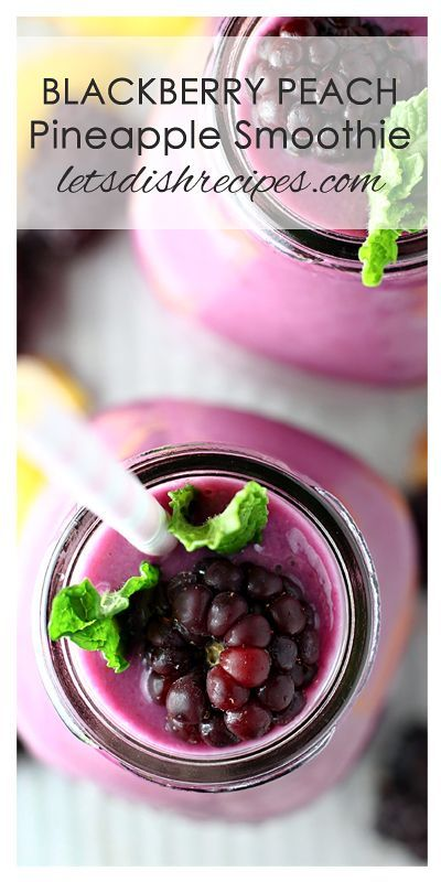 Blackberry Peach Pineapple Smoothie Recipe   This healthy smoothie is loaded with fruit. Perfect for breakfast or an afternoon snack!