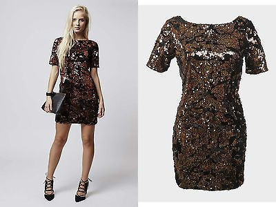 NEW TOPSHOP BLACK BROWN BRONZE SEQUIN VELVET BODYCON DRESS RRP £68 6 to 16