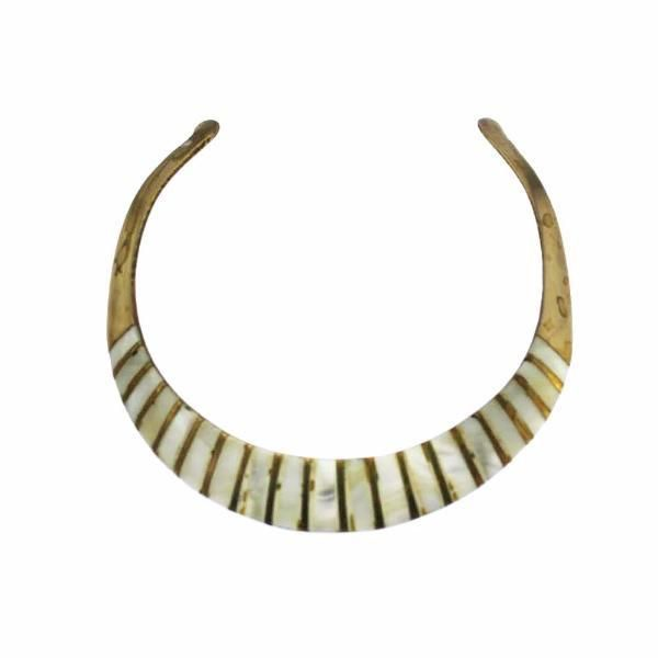 Mother of Pearl and Brass Cleopatra Collar Necklace