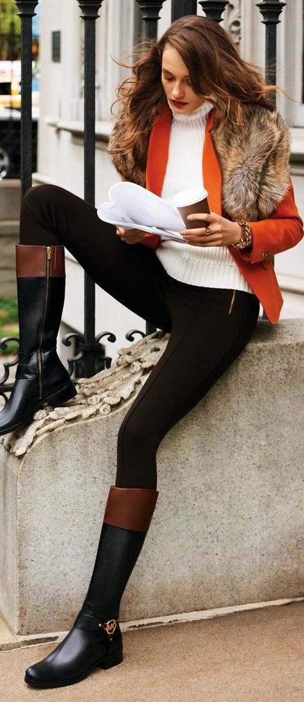 LOVE this outfit!!!! MICHAEL Michael Kors Felt Blazer, Ribbed Fur Scarf &