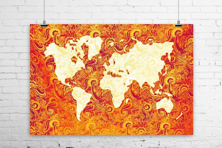 Paisley tapisserie mappemonde impression dArt par BoofunkPrints