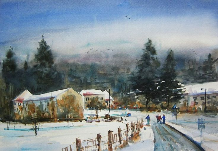 Roncesvalles, Navarra, Spain, watercolour by Nusret Topuzoglu, Turkey