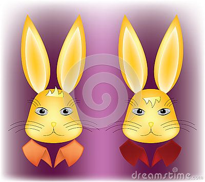 #Rabbit #heads with two #expressions: #surprised and #serious, also with colorful stiff collars, on purple background