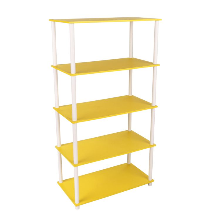 This Home Storage 5 Flat Shelving Unit Vertical Rack System Yellow  does not require tools to assemble. They work as a storage unit