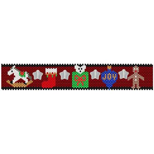 Christmas Joys Beaded Bracelet Pattern | Bead-Patterns.com