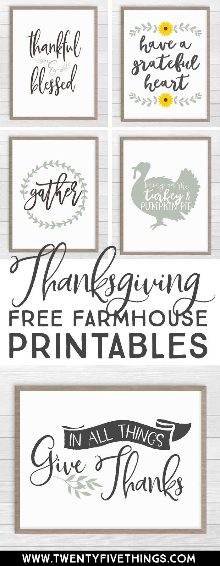 These farmhouse Thanksgiving prints are exactly what I've been looking for! The colors are spot-on. So easy to just download and print at this site. #FarmhouseDecor #ThanksgivingDecor #FreePrintables