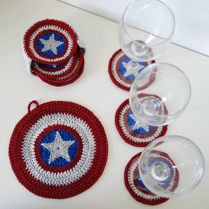 Tuto : comment faire une étoile dans un rond au crochet, avec des sous-verres captain america - by ahooka
