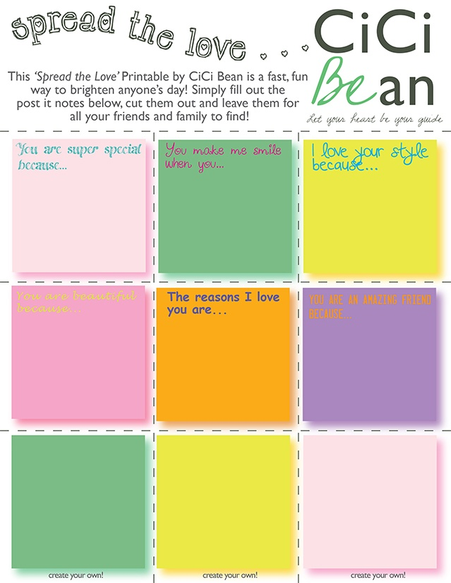 Brighten a friends day with this Spread the Love post-it note Printable!   Cici Bean   www.letyourheartbeyourguide.blogspot.ca