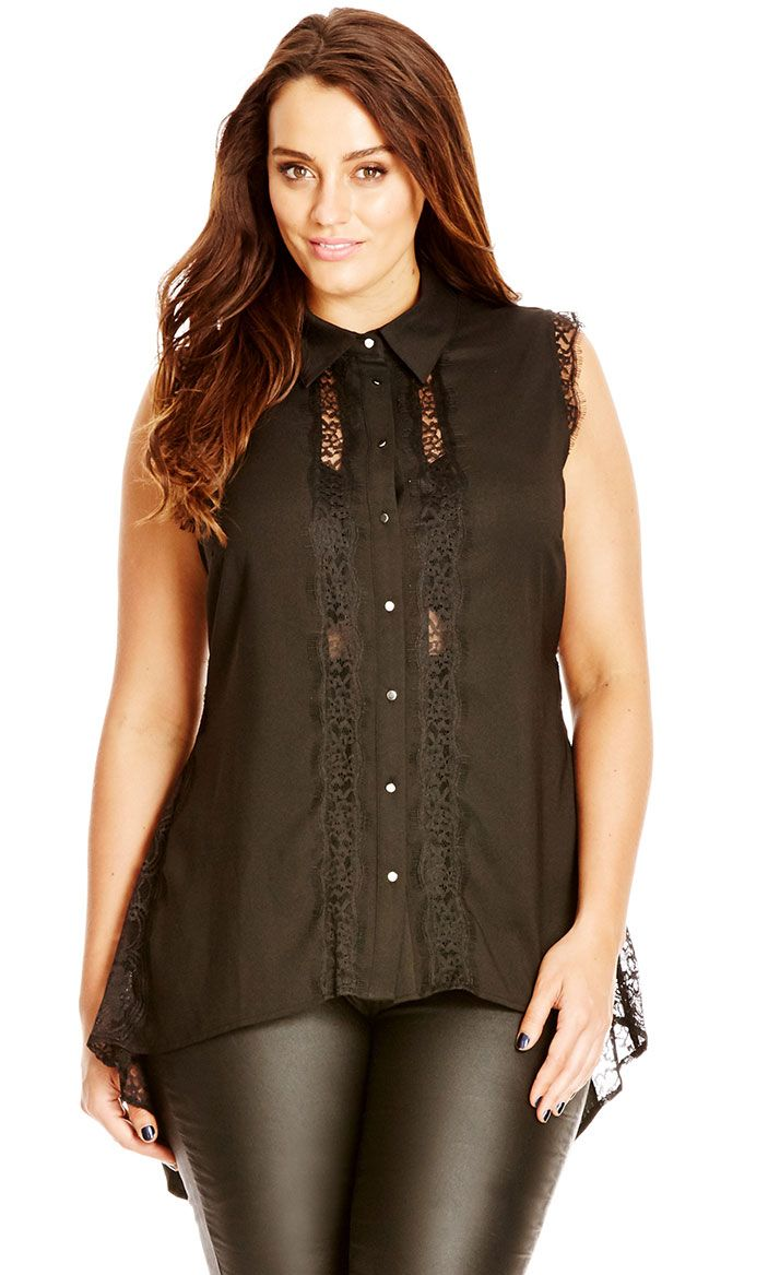 Keep it buttoned in the Pretty Lace Shirt. This number is fantastic for work and can be worn tucked into a pencil skirt or teamed over your favourite jeans for no fuss style. This shirt features a button down front with sheer lace paneling, darted bust, hi lo hem and lace hem on the armsaye.