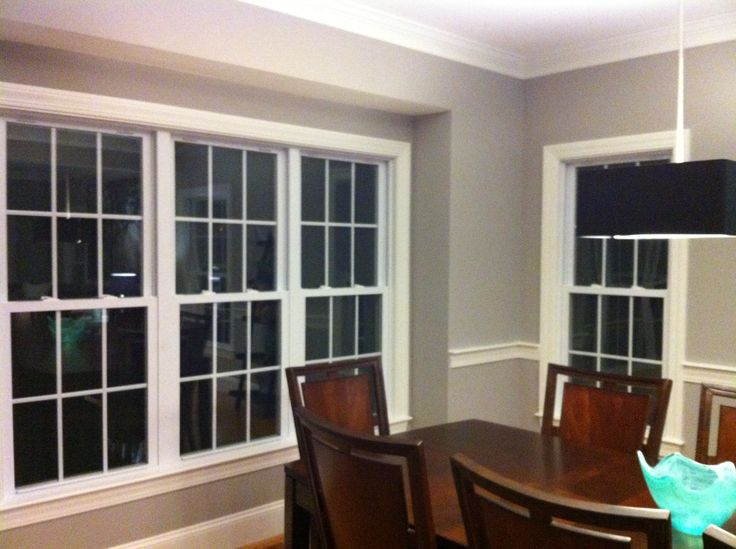 Just Painted My Dining Room With Benjamin Moore Baltic Gray Looks Great White Trim And Dark Furniture