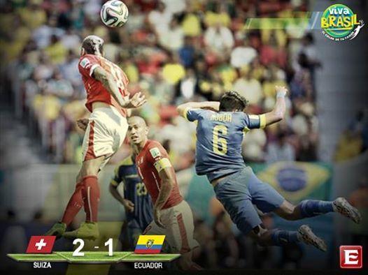 #VivaBrasil El partido del domingo 15 de Junio Suiza 2-1 Ecuador con remontada de los suizos #Mundial2014.