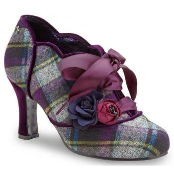 Joe Browns Shoes Yazzabelle Purple Tartan Heeled Shoes