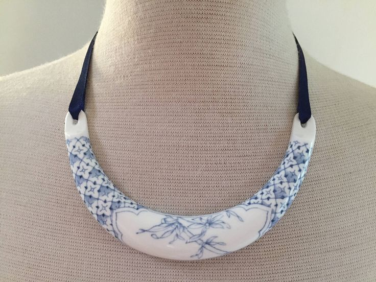 Vintage collar necklace, china necklace, Kenneth Jay Lane Royal Worcester necklace, blue and white necklace, AnyaSophiaCo by AnyaSophiaCo on Etsy