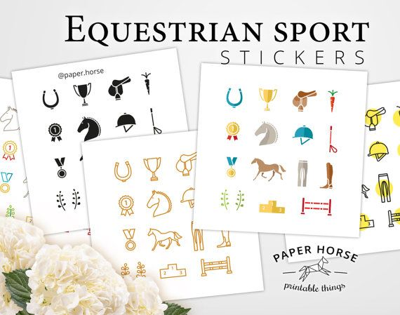 Equestrian sport Horse printable stickers for by PaperHorseDesign