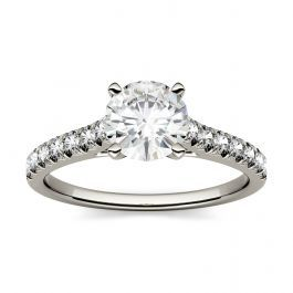 Forever One Round Moissanite Solitaire with Side Accents Engagement Ring