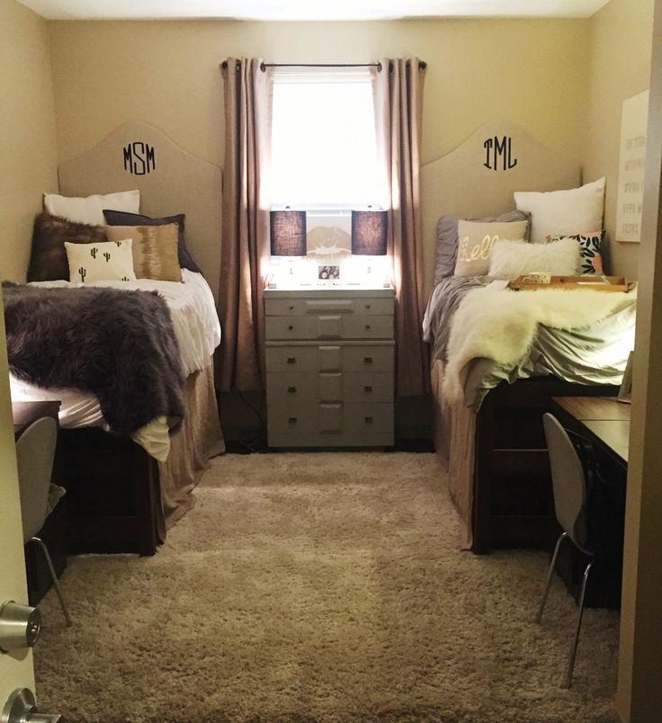 Cozy dorm room • Arkansas State University • Alpha Gamma Delta /navy / gold / grey / burlap / monogrammed headboards