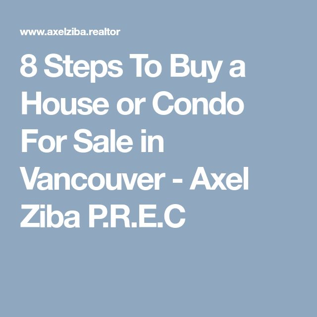 8 Steps To Buy a House or Condo For Sale in Vancouver - Axel Ziba P.R.E.C