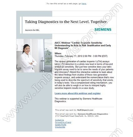 Company:Siemens Healthcare Diagnostics      Subject:   AACC CEU Webinar: Cardiac Troponin Sensitivity                INBOXVISION providing email design ideas and email marketing intelligence.     http://www.inboxvision.com/blog  #EmailMarketing #DigitalMarketing #EmailDesign #EmailTemplate #InboxVision #Emailideas #NewsletterIdeas