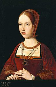 Portrait of a lady (Jeanne de Beersel, Countess of Zollern?). c.1510-4.   Attributed to the workshop of Pieter van Coninxloo. Zoomable image linked to page. (found elsewhere marked as Margaret Tudor, Queen of Scotland, but this is really not Margaret.)