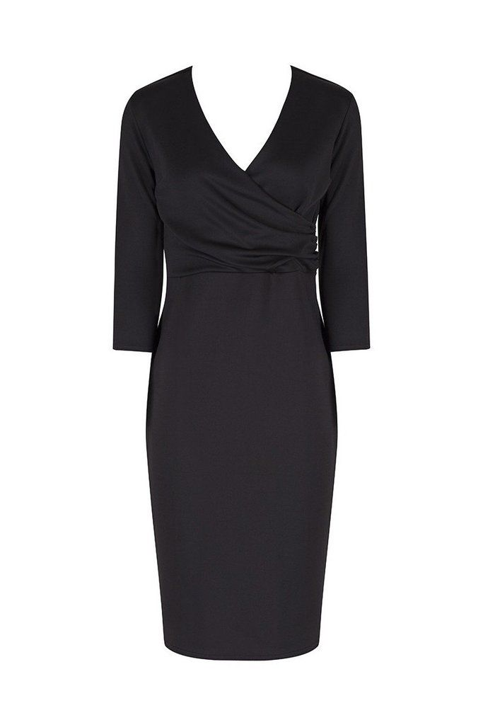 Black 3/4 Sleeve Crossover Bodycon Wiggle Dress