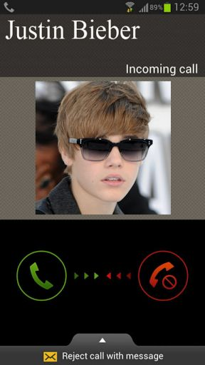 This app simulates a call from Justin Bieber, so you can play pretend as if Justin Bieber is calling<p>Ever Wanted to get a call from JUSTIN BIEBER??<p>With this new exciting app you can imagine how the moment of getting a call from Justin Bieber will feel like!!<p>You can play it with your friends, thinking what will you tell Justin Bieber if he calls you!<p>This app is for fun and entertainment so enjoy it and share it with your friends!!<p>If you like you can add idea to apps you like in…