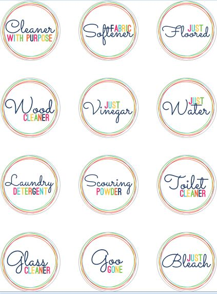 Free Printable Labels For Homemade Cleaners Print On