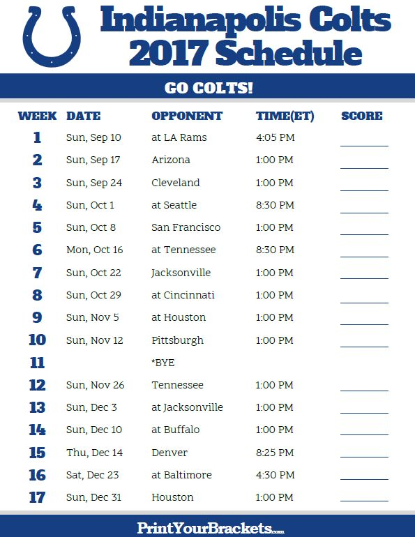 2017 Indianapolis Colts Football Schedule