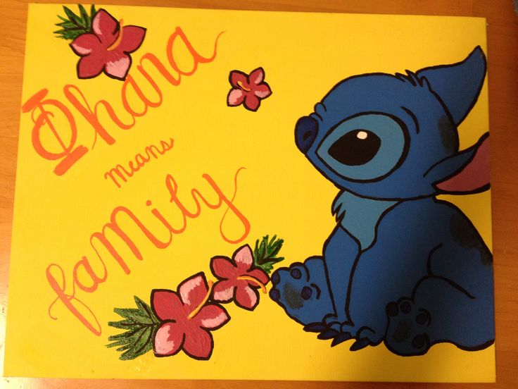 Ohana means family, phi mu with stitch, painting