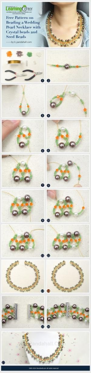 Free Pattern on Beading a Wedding Pearl Necklace with Crystal beads and Seed Beads by wanting