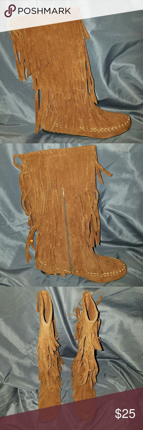 Size 8 // Purchased from Tillys Cognac faux suede fringe boots // never worn // unable to determine brand Tilly's Shoes