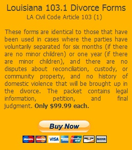 Louisiana 103.1 Divorce Forms  by Justtheforms.com at http://www.justtheforms.com