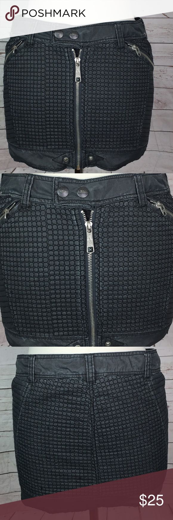 "Diesel Women's Dark Grey  zip Mini Skirt Size 25 Cute Women's Diesel quilted nylon mini skirt zipper details size 25.  Measurements: 15"" waist 12"" length 17"" hips Diesel Skirts Mini"
