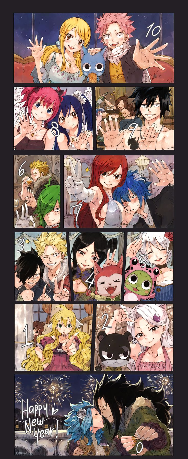 10.9.8.7.6.5.4.3.2.1.0 HAPPY NEW YEAR!!! Love Fairy Tail!' ( Gajeel & Levy are sooo cute))) ❤️