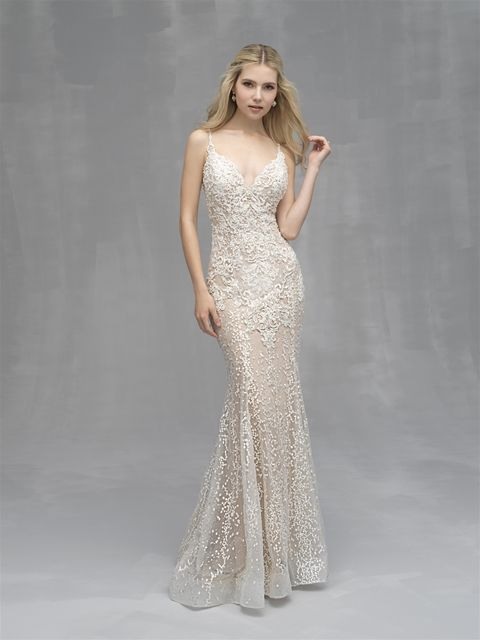 625ffda6 Allure Couture C521 Nude/Champagne/Ivory Size 12. Beaded Lace V-neck Sheath  Wedding Dress ...