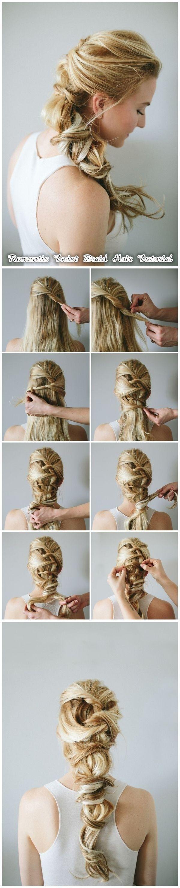 Braid de bricolage pour Cheveux longs: Twist romantique tressés Coiffures