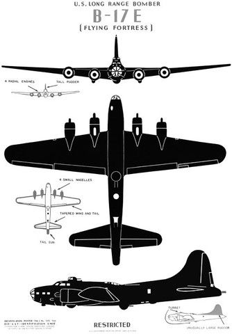 """U.S. Long Range Bomber B-17E, """"The Flying Fortress"""" #vintage #airplane #wwii"""