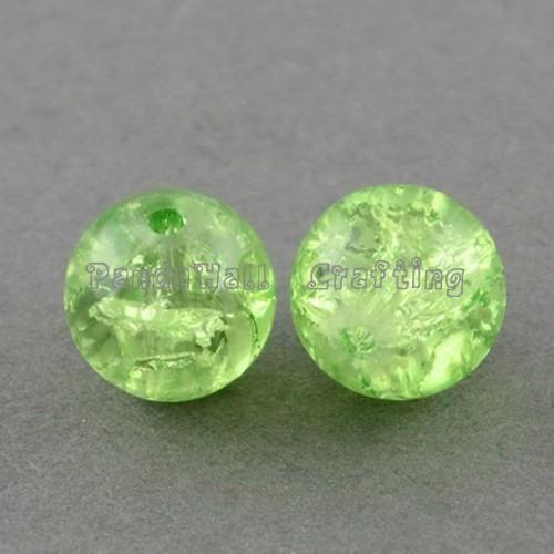 1 прядь прозрачный треск стекла круглый бусины strands, Palegreen, 4 мм ; отверстие : 1.1 ~ 1.3 мм ; около 200 шт. / strand, 31.4