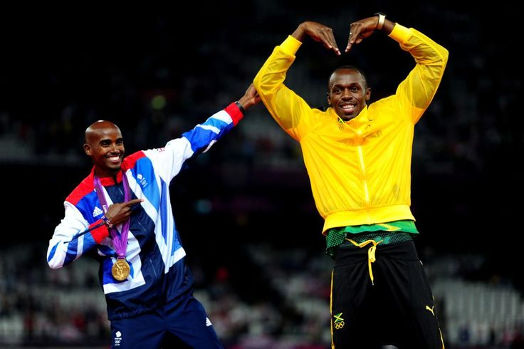 Team GB's Mo Farah and Jamaican sprinter Usain Bolt mimic each other's wining pose at London 2012.