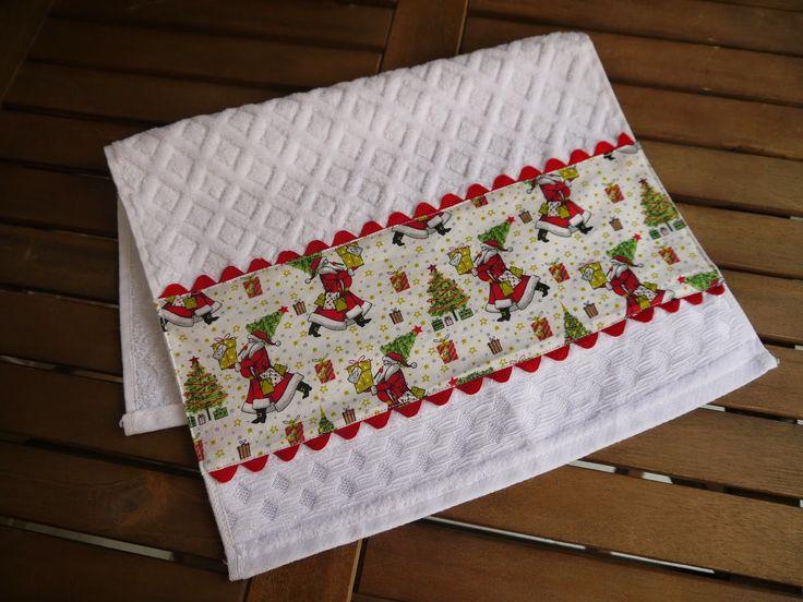 Ateliê da RussaToalha de lavabo decorado com tecido natalino Новогоднее полотенце для рук Christmas towel