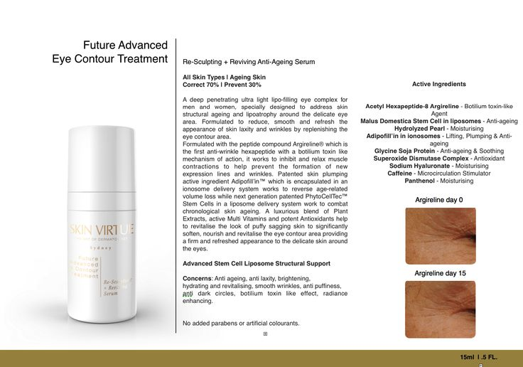 FUTURE ADVANCED EYE CONTOUR TREATMENT | Re-Sculpting + Reviving Anti Aging Serum  https://skinvirtue.com.au  Correct 70% | Prevent 30%  A deep penetrating ultra light lipo-filling eye complex for men and women, specially designed to address skin structural ageing and lipoatrophy around the delicate eye area. Formulated to reduce, smooth and refresh the appearance of skin laxity and wrinkles by replenishing the eye contour area.  Formulated with the peptide compound Argireline® which is the…