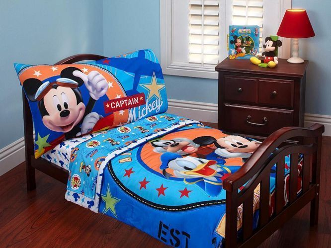 4pc boys toddler bedding set comforter sheets childs bed mickey mouse disney from