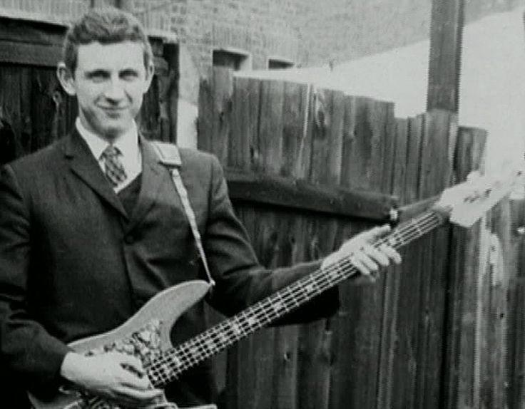 John Entwistle with his homemade bass guitar.
