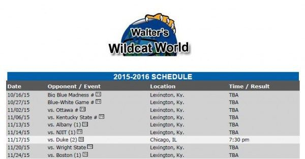 2015-2016 Kentucky basketball schedule..full schedule on site