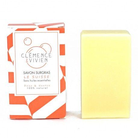 Clémence & Vivien savon Suisse -  Le savon surgras à froid le Suisse est neutre et doux : il a signé un pacte de non-agression avec votre peau. Enrichi en beurre de Karité