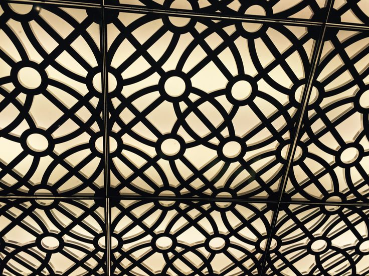 Project 2, Atrium & riverwalk: Laser cut metal panels cover light box style feature on the ceiling of one of the entrances to the riverwalk area.