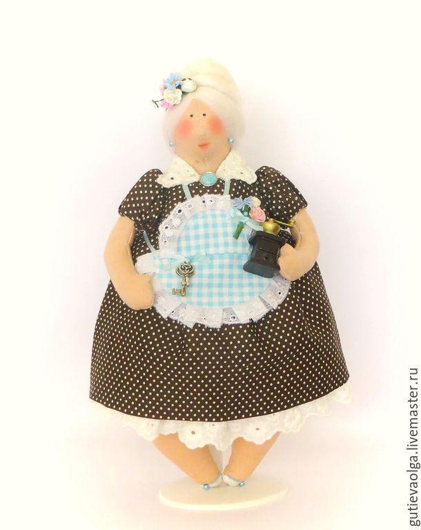 Купить Толстушка.Тильда - коричневый, тильда, ручная работа, интерьерная кукла, текстильная кукла, кружево