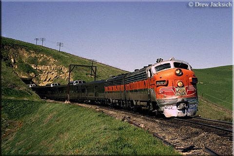 WP FP7 #804-D blasts out of Tunnel #3 along Altamont Pass in California leading the CZ during March of 1970. This tunnel has since been daylighted.